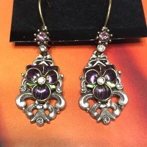 Purple pansy earrings with crystals leverback